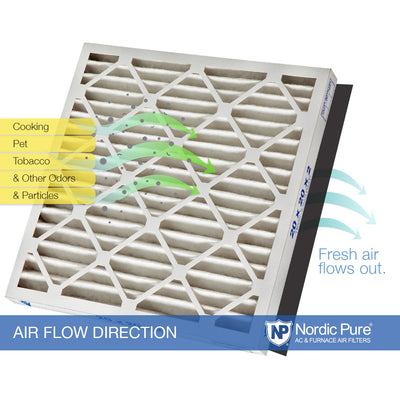 16x25x2 Pleated Air Filters MERV 14 Plus Carbon 12 Pack