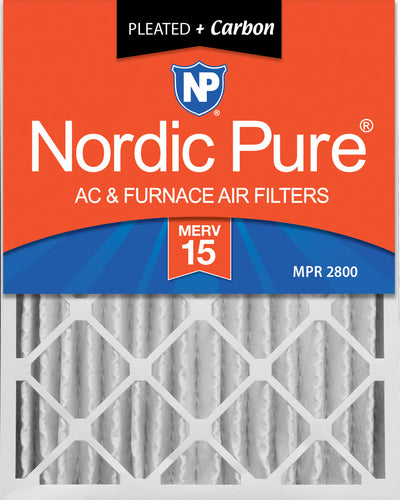 16x25x4 (3 5/8) Pleated Air Filters MERV 15 Plus Carbon 2 Pack