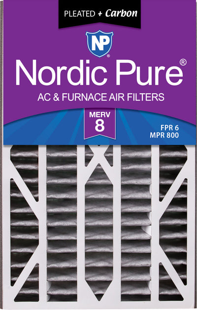 Air Bear Cub 16x25x3 Air Filter Replacement MERV 8 Pleated Plus Carbon 1 Pack