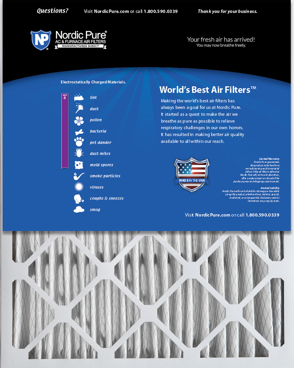 Honeywell Replacement Pleated MERV 8 Plus Carbon AC Furnace Air Filter 4-3//8 Actual Depth Nordic Pure 20x20x5 Box of 1