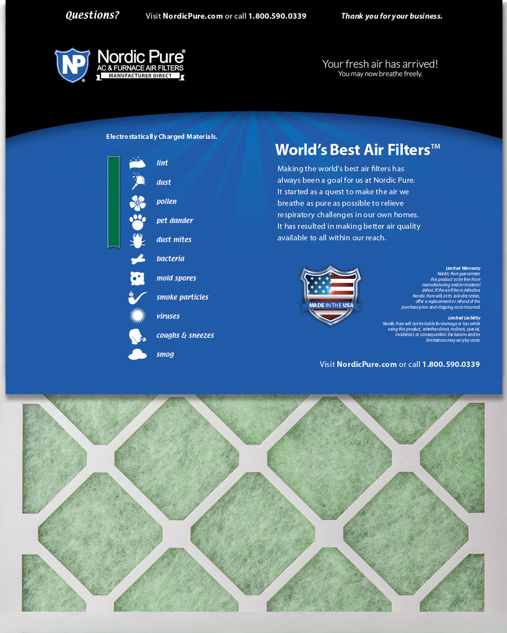 Nordic Pure 11/_3//4x23/_3//4x1 MERV 8 Pure Carbon Pleated Odor Reduction AC Furnace Air Filters 4 Pack