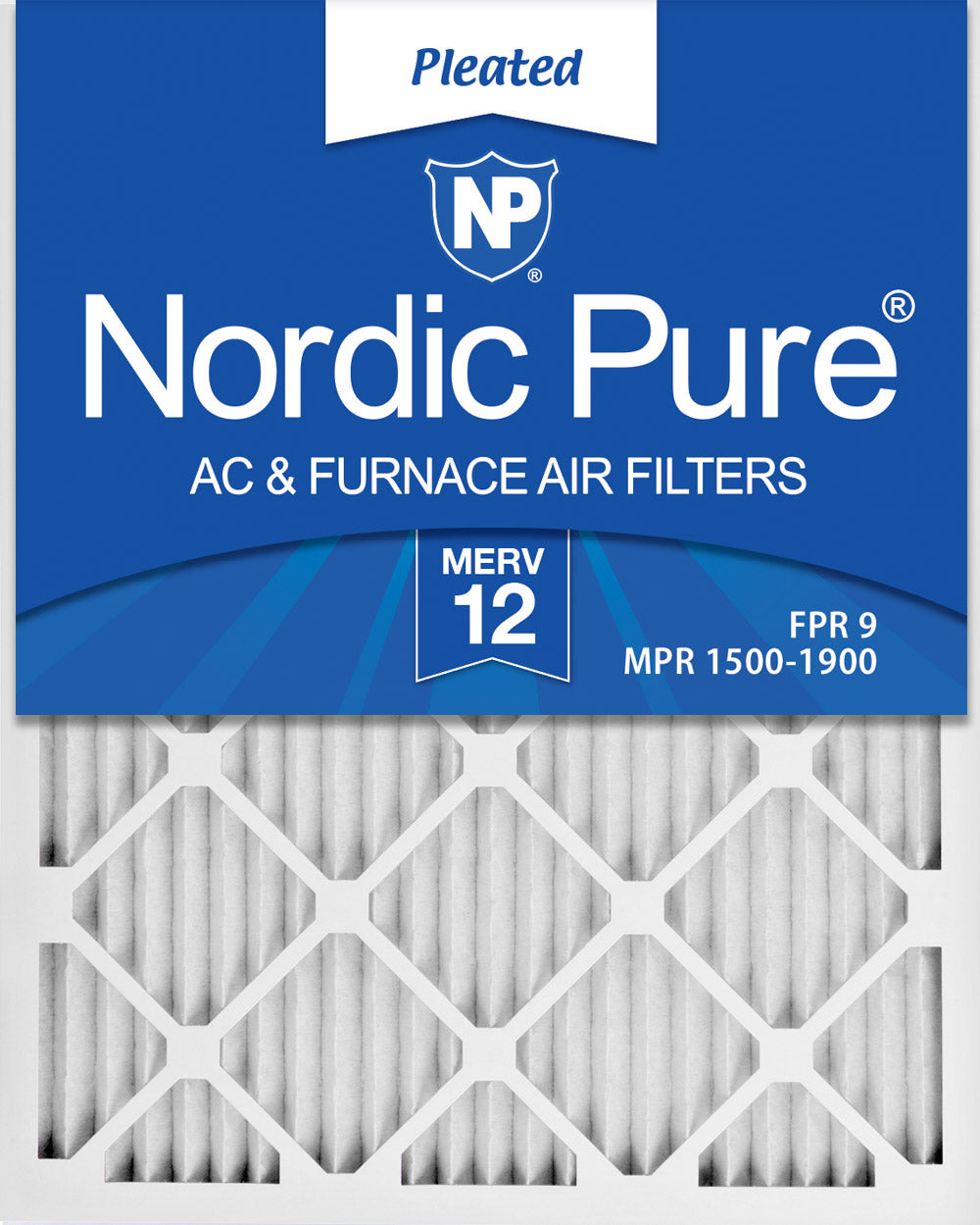 16x25x1 Pleated MERV 12 Air Filters 12 Pack