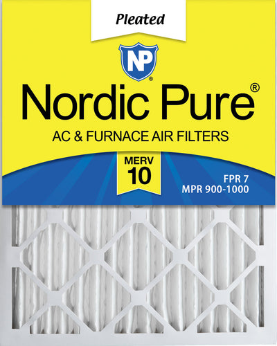 12x25x2 Pleated MERV 10 Air Filters 3 Pack