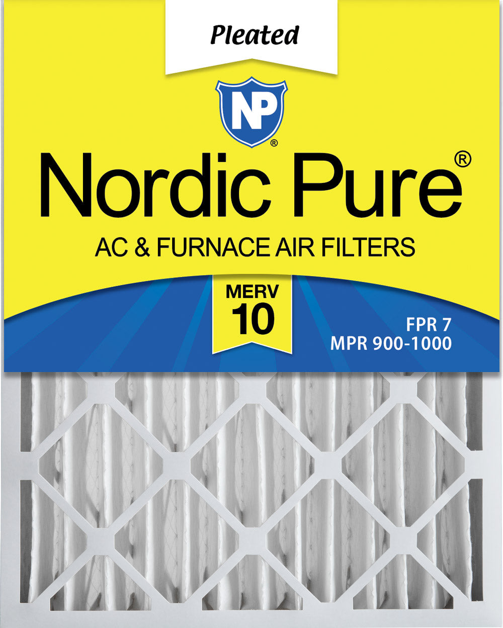 16x25x4 (3 5/8) Pleated MERV 10 Air Filters 1 Pack