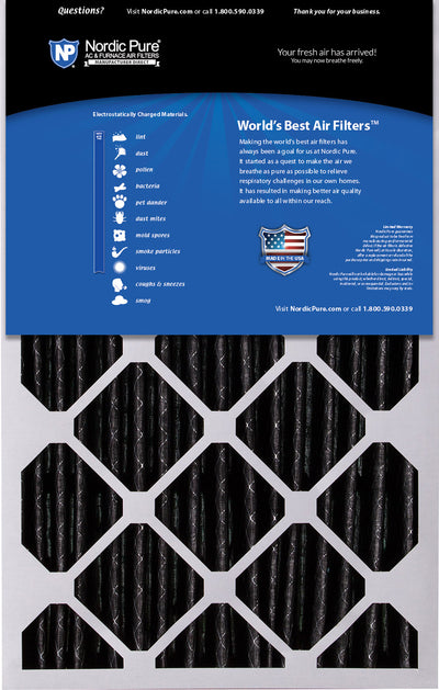 16x25x5 (4 3/8) Honeywell/Lennox Replacement Air Filters MERV 12 Pleated Plus Carbon 1 Pack