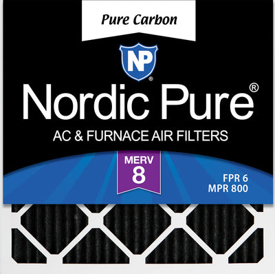 12x12x1 Exact MERV 8 Pure Carbon Pleated Odor Reduction AC Furnace Air Filters 6 Pack
