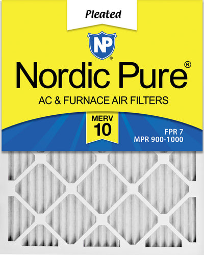20x25x1 MERV 10 Pleated AC Furnace Air Filters 12 Pack