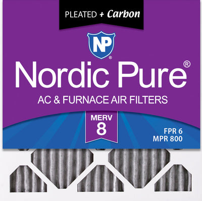 10x10x1 Furnace Air Filters MERV 8 Pleated Plus Carbon 12 Pack