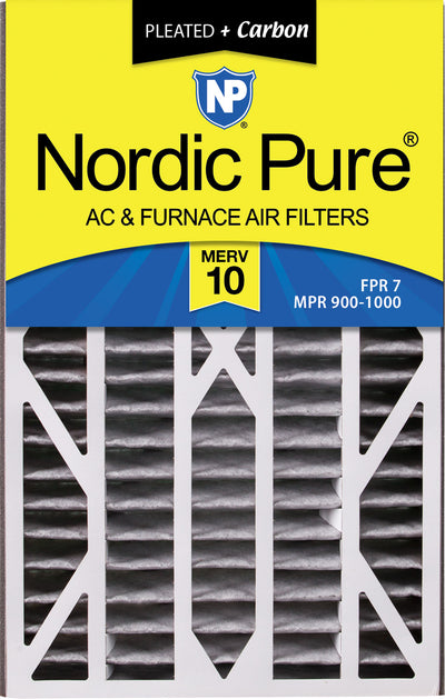 Air Bear Cub 16x25x3 Air Filter Replacement MERV 10 Pleated Plus Carbon 7 Pack