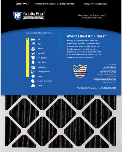 20x25x5 (4 3/8) Honeywell/Lennox Replacement Air Filters MERV 10 Pleated Plus Carbon 2 Pack