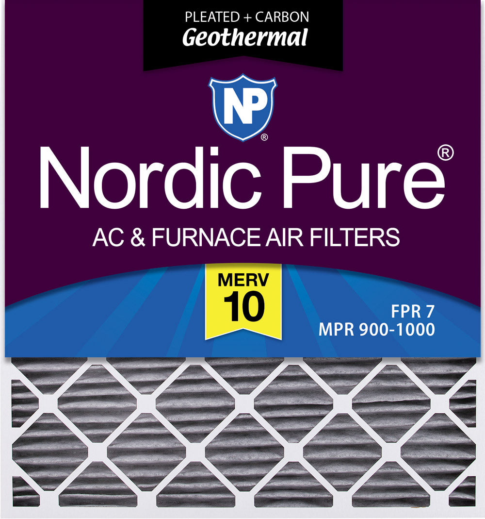 30x32x2 Geothermal MERV 10 Pleated Plus Carbon AC Furnace Air Filters 3 Pack