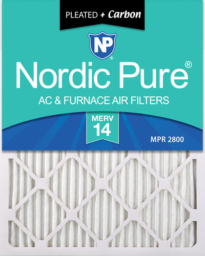 20x25x1 Pleated Air Filters MERV 14 Plus Carbon 3 Pack