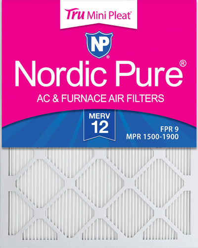 20x25x1 MERV 12 Tru Mini Pleat AC Furnace Air Filters 12 Pack