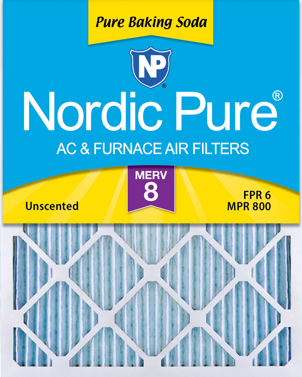 16x25x1 Pure Baking Soda Odor Deodorizing AC Air Filters 3 Pack