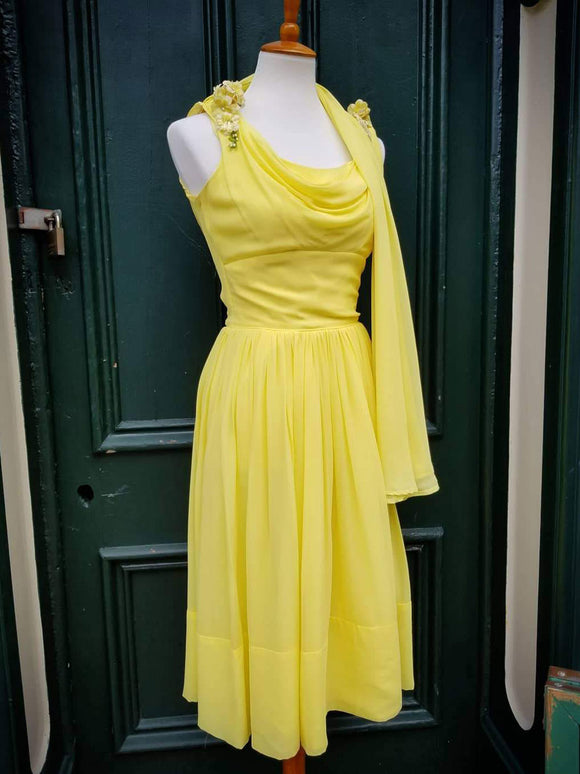 1950's Yellow Chiffon Dress