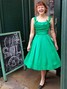 Emerald Green Satin 1950's Cocktail Dress