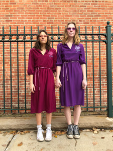 Purple and Mauve 1970's Polyester Dresses