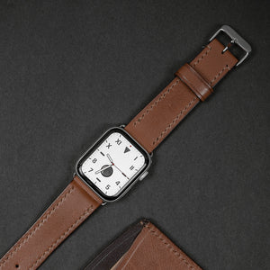 Black Apple 38/40mm Leather Watch Strap