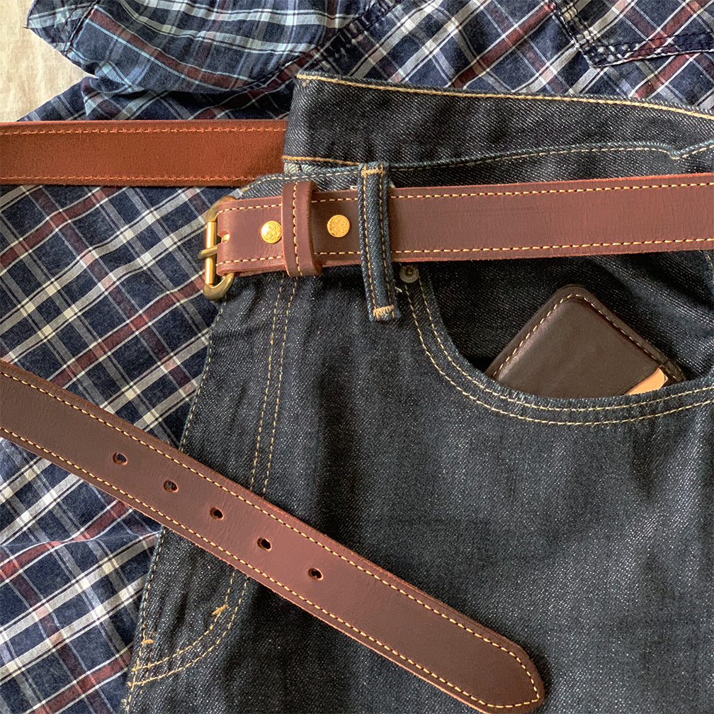 Brown custom sized leather belt