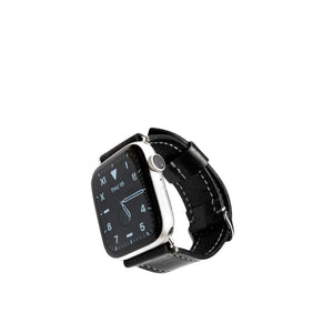Black Apple 42/44mm Leather Watch Strap