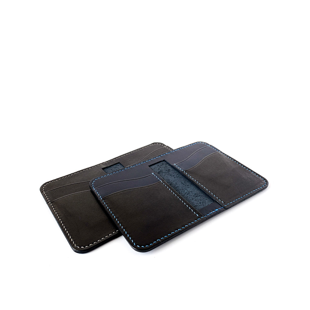 VErtical blue bifold leather wallets