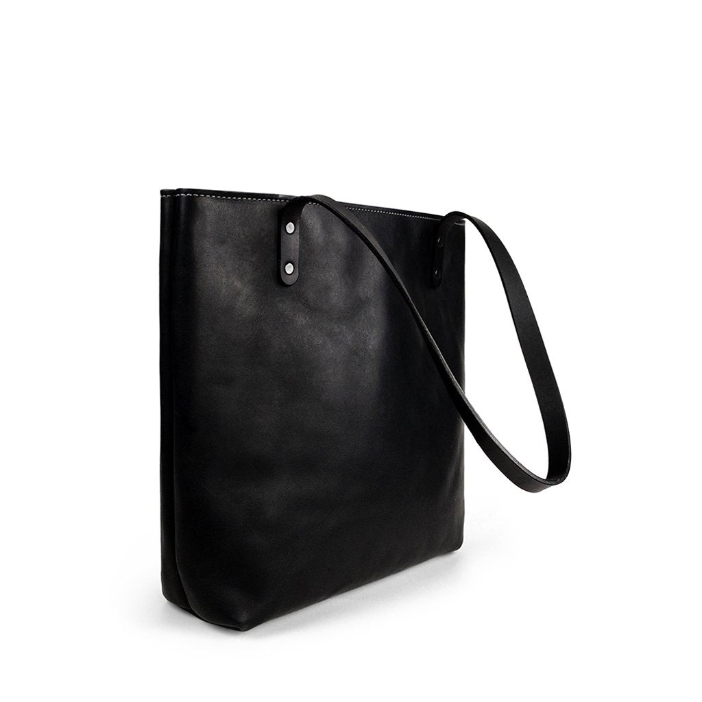 Handmade Leather tote bag for work | Black