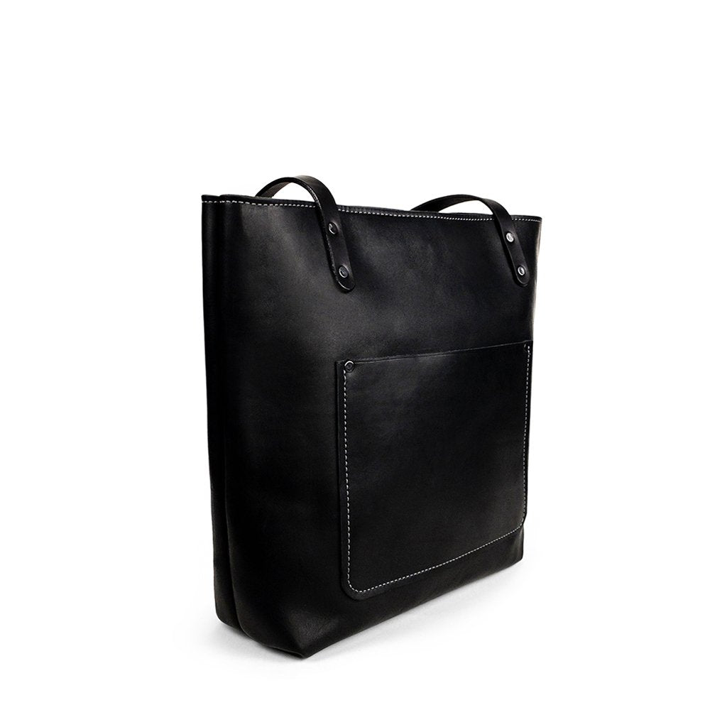 Leather tote bag for work | Black