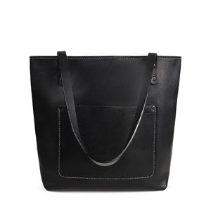 Leather Handmade tote bag for work | Black Harvest