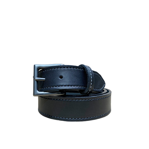 Black Stitched leather belt handmade
