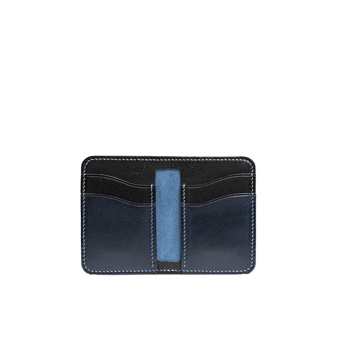 Leather Vertical Bifold Card wallet | Navy