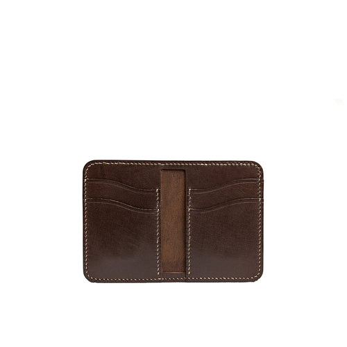 brown bifold vertical wallet