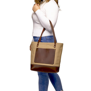 Canvas and leather tote for women