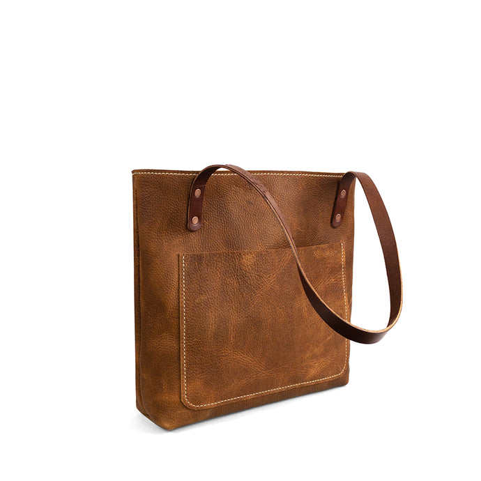 Classic Handmade Leather Tote bag | Saddle