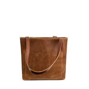 Classic Handmade Leather Market Tote | Milled Saddle