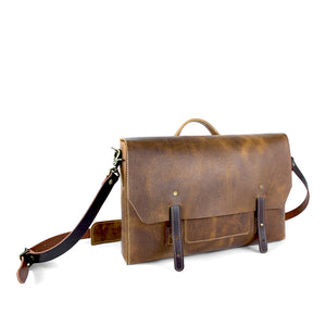 brown leather laptop messenger bag