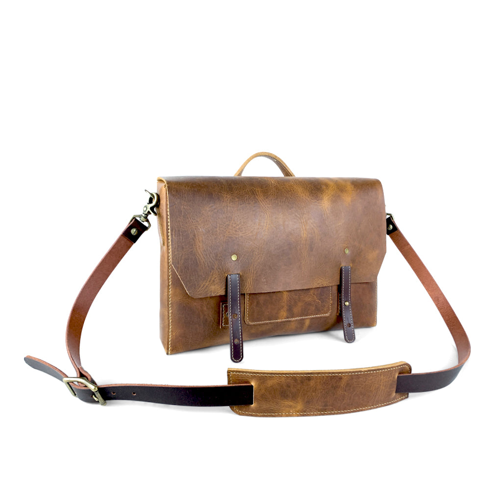 Leather laptop messenger bag brown