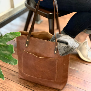 Leather Handmade tote work bag Lifestyle | Sunset Rage