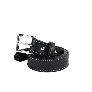 Black Full Grain Stitched Leather Belts for Men
