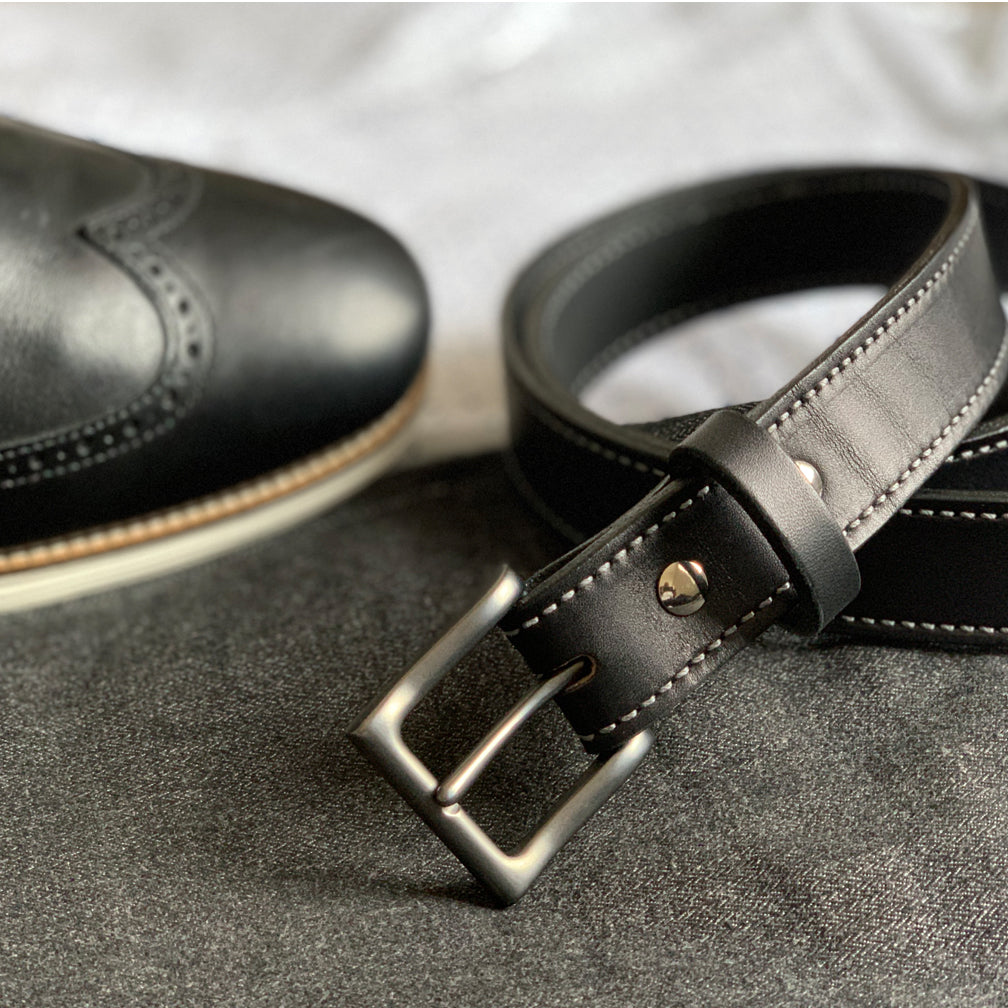 Black Full Grain Stitched Leather Casual Belts 01