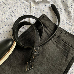Black Full Grain Stitched Leather Casual Belts 02