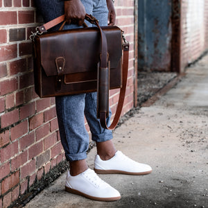leather laptop satchel mens