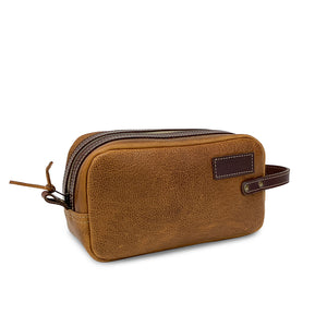 Leather Dopp kit Bag | Tan