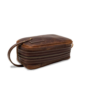 Leather Dopp kit Toiletry Bag | brown