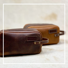 Load image into Gallery viewer, groomsmen gift leather toiletry bags
