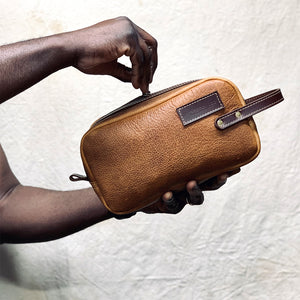 Dopp kit leather travel bag