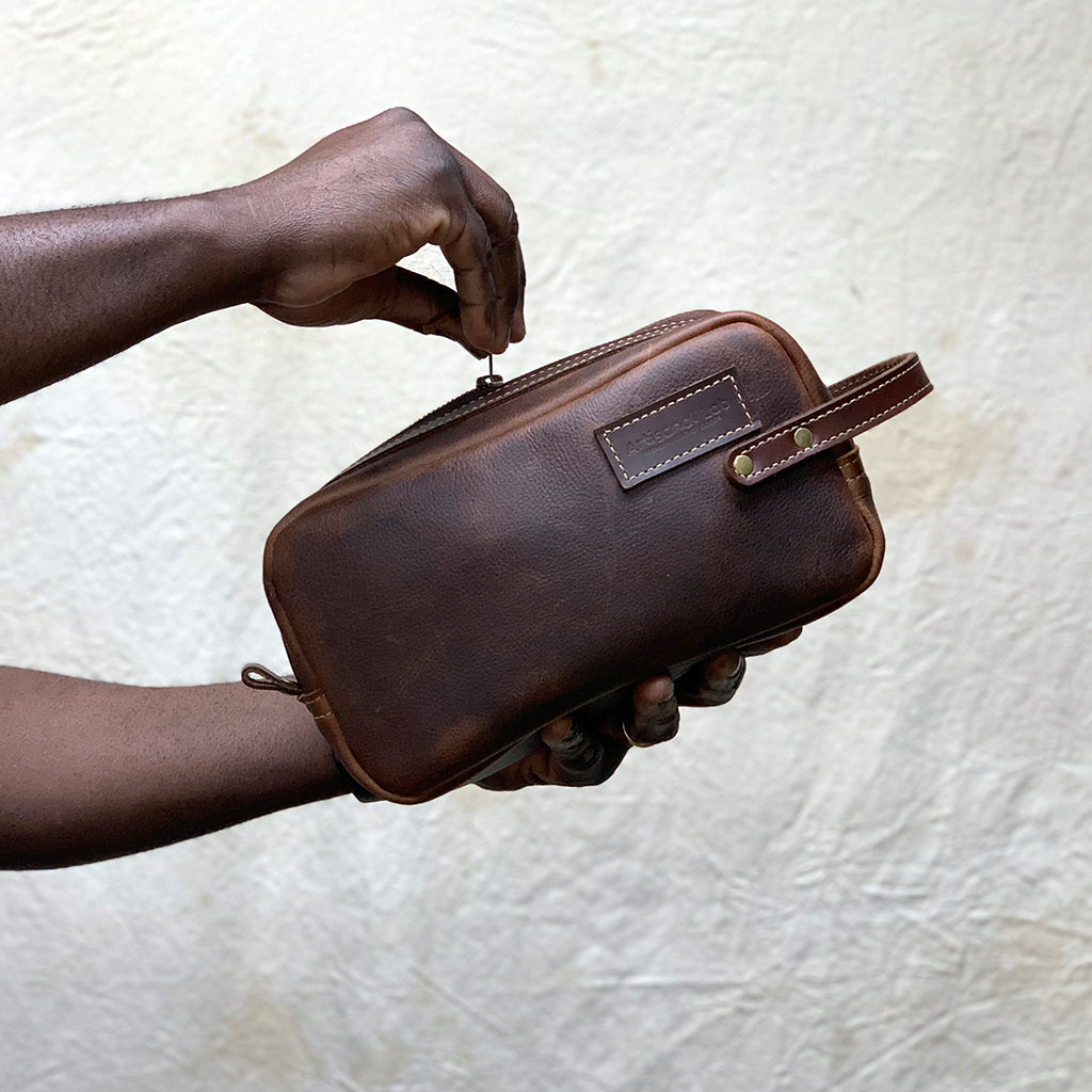 handmade Leather Dopp kit brown