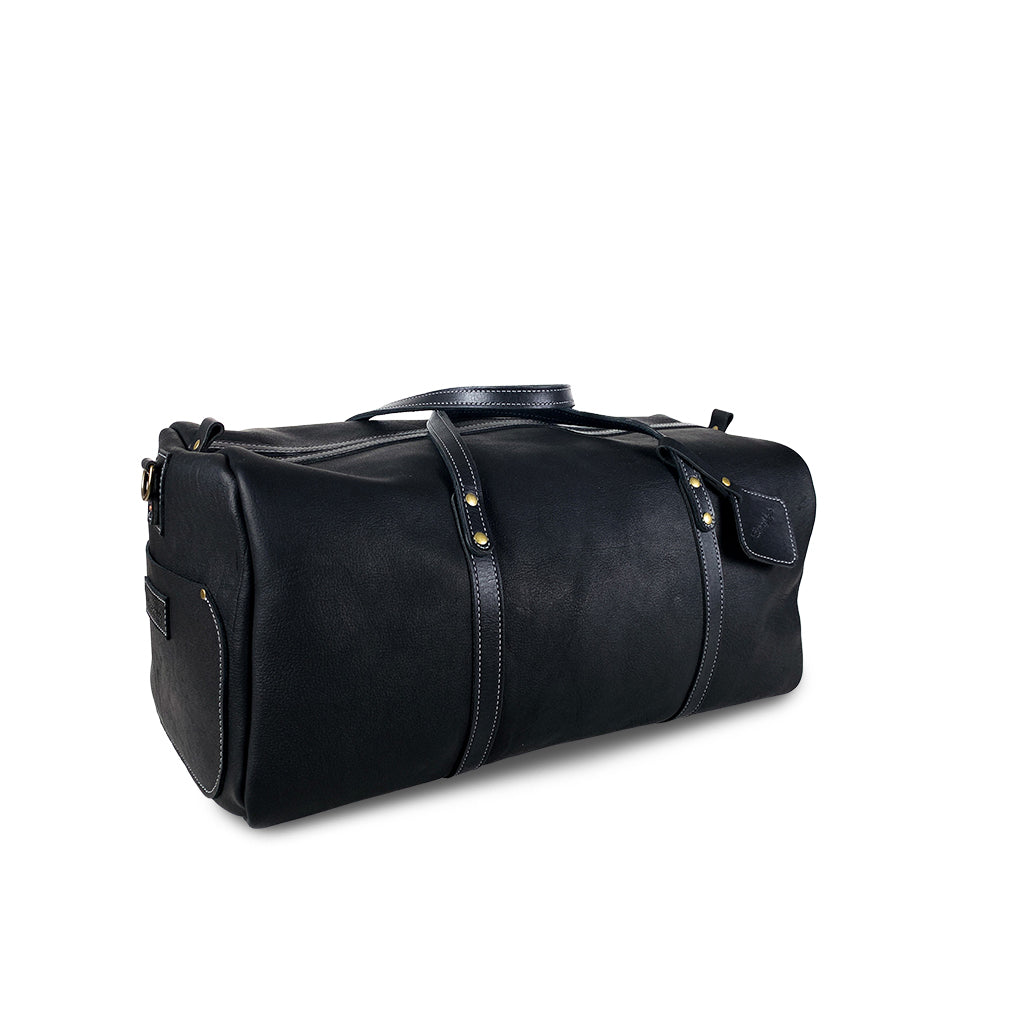 Leather duffle bag black