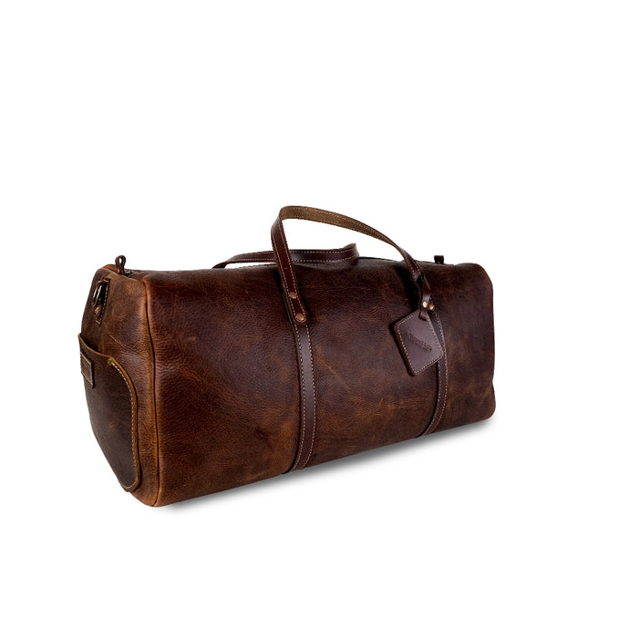 Leather duffle bag brown