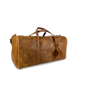 Leather duffle weekender bag tan