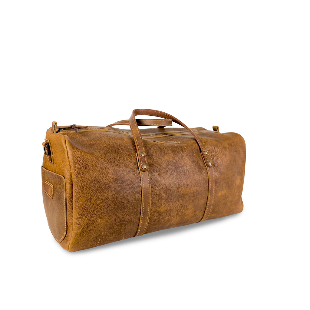 Leather duffle bag tan